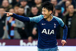 Son Heung-Min of Tottenham Hotspur celebrates scoring a goal to make it 2-0 - Mandatory by-line: Robbie Stephenson/JMP - 31/10/2018 - FOOTBALL - London Stadium - London, England - West Ham United v Tottenham Hotspur - Carabao Cup