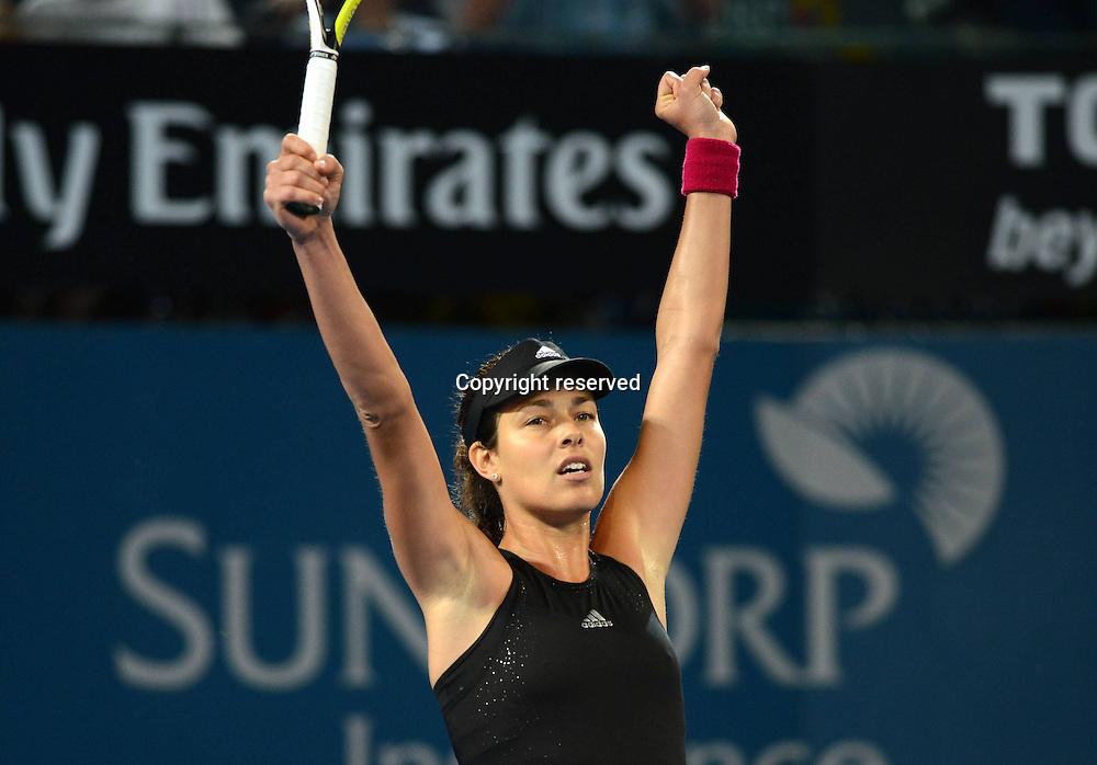 09.01.2014. Brisbane, Queensland, Australia.  Ana Ivanovic (SRB) riases her hands in celebration. Brisbane International 2015