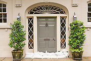 Sandbags protect the door of a historic home as Hurricane Joaquin brings heavy rain, flooding and strong winds as it passes offshore October 4, 2015 in Charleston, South Carolina.