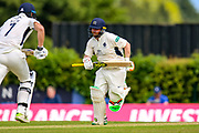 Paul Stirling of Middlesex runs to take the Middlesex score to 350 during the Specsavers County Champ Div 2 match between Middlesex County Cricket Club and Glamorgan County Cricket Club at Radlett Cricket Ground, Radlett, Herfordshire,United Kingdom on 17 June 2019.