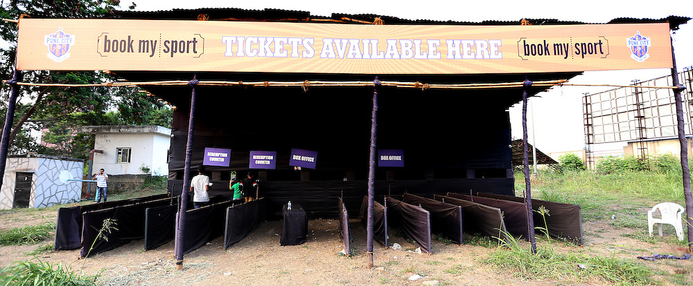 Box office during match 33 of the Indian Super League (ISL) season 2  between FC Pune City and FC Goa held at the Shree Shiv Chhatrapati Sports Complex Stadium, Pune, India on the 8th November 2015.<br /> <br /> Photo by Sandeep Shetty / ISL/ SPORTZPICS