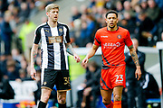 Notts County forward Jonathan Stead (30) is watched by Wycombe Wanderers forward Nathan Tyson (23)  during the EFL Sky Bet League 2 match between Notts County and Wycombe Wanderers at Meadow Lane, Nottingham, England on 30 March 2018. Picture by Simon Davies.