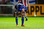 Luke Joyce (4) of Carlisle United has his hands on his head after Exeter take a 2-0 lead during the EFL Sky Bet League 2 play off second leg match between Exeter City and Carlisle United at St James' Park, Exeter, England on 18 May 2017. Photo by Graham Hunt.
