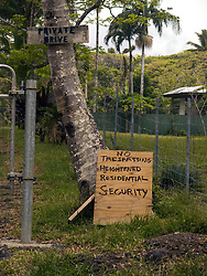 July 9, 2018 - Pahoa, Hawaii, U.S - Residents along Kalapana-Kapoho Road are taking their own safety measures as the Kilauea Volcano east rift zone eruption continues Sunday, June 10, 2018, in Pahoa, Hawaii. Photo by LE Baskow/LeftEyeImages (Credit Image: © L.E. Baskow via ZUMA Wire)