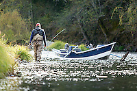 Jon Mercedich fly fishing on the Trinity River in Northern California.<br />