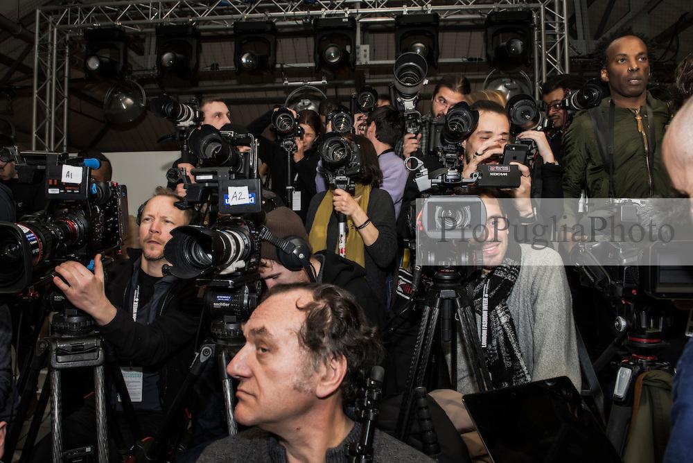 Photographers during Holly Fulton presentation at London Fashion Week