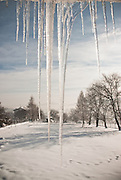 Icicles in the winter sun. Beskidy mountains, Silesia, Poland.