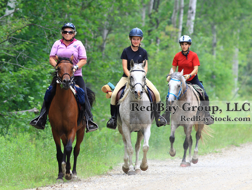 Lynda Townsend on Antenat, Charlene Zubrickos on Black Bart's Reflection and Nancy Zukewich on Serious Moonlight at the FEI Sanctioned Endurance ride at the OCTRA Provincial Championships, New Lowell, Ontario, Canada