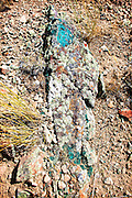 Minerals and Lichen on a rock at Specimen Ridge in Yellowstone National Park.