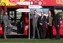 Repro Free: 03/03/2014 Pictured at the launch of the new City Sightseeing bus route at Croke Park stadium which now encompasses the Botanic Gardens, Glasnevin Cemetery and Croke Park is <br /> Mr David McConn, Chief Executive, Dualway Group, Minister for Transport, Tourism and Sport, Leo Varadkar T.D., Mr Liam O&rsquo;Neill, President of the GAA, Matthew Jebb, Director, National Botanic Gardens and Mr John Green, Chairman of Glasnevin Trust.<br /> The new route will be open to the public from March 10th 2014 and extends the existing tour route. This &lsquo;true blue&rsquo; route will take visitors on a journey that gives an insight into the struggles and victories that shaped this country encapsulating social, cultural and sporting history, amazing views and landscapes from three of Dublin&rsquo;s top 10 attractions (Tripadvisor). In this decade of commemorations, these sites are at the forefront in remembering and commemorating great events and people in Irish history. Picture Andres Poveda