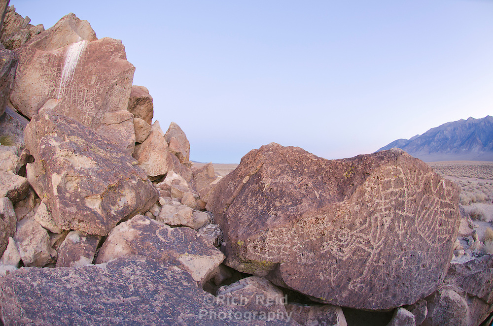 Sacred Owens Valley Paiute petroglyph site at dawn in the Eastern Sierras, California.