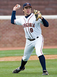 Virginia Cavaliers infielder Patrick Wingfield (8) completes an infield play against Duke.  The Virginia Cavaliers Baseball team fell to the Duke Blue Devils 13-9 in the second of a three game series at Davenport Field in Charlottesville, VA on April 7, 2007.