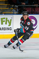 KELOWNA, CANADA - OCTOBER 26: Leif Mattson #28 of the Kelowna Rockets skates against the Victoria Royals on October 26, 2016 at Prospera Place in Kelowna, British Columbia, Canada.  (Photo by Marissa Baecker/Shoot the Breeze)  *** Local Caption ***