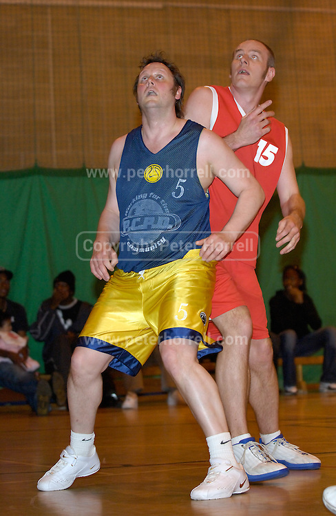 Thursday 26th April, 2007. Erks' Dave Churches (#15) is blocked from the boards by a Lakers defender after a free throw during Barking and Dagenham Erkenwald's EMBL Play Off semi-final against Lakers at Sydney Russell. Erkenwald won the game 90 - 69.