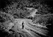 Balang Weng, a Penan man, walks along logging road used by Samling Global Ltd. as it cuts deeper into the interior rainforest of Sarawak north of Long Lellang, Malaysia.  According to Forbes Magazine, Samling's father & son owners, Yaw Teck Seng & Yaw Chee Ming have an estimated worth of US$ 480 million.  According to Survival International, there are roughly 10,000 to 12,000 traditionally nomadic Penan living in the forests of Sarawak now in settled communities.   The per capita GDP in Malaysia is US$ 6,970 (World Bank).  Even if, taking the upper figure of 12,000, all the Penan people earned the per capita GDP of US$ 6970, which these forest dwellers who are only marginally participating in the cash economy certainly would not, the entire population of the Penan people would earn US$ 84 million per year, less than 20% the net total worth of the two tycoon owners of Samling Global Limited.