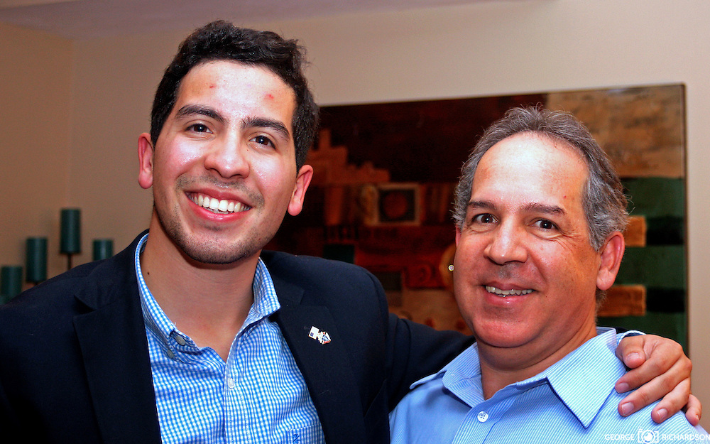 Andy Vargas, Haverhill City Council- aspirant, <br /> poses with his father at the neibort reception for his candidature. <br /> Photos George Richardson