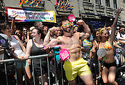 A Pride marcher with the Greater Fort Lauderdale Convention & Visitors Bureau entertains crowds at the historic Stonewall Inn during the New York Gay Pride Parade, Sunday, June 29, 2014.   (Photo by Diane Bondareff/Invision for Greater Fort Lauderdale Convention & Visitors Bureau/AP Images)