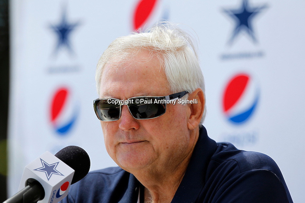 Dallas Cowboys Head Coach Wade Phillips talks to the media during a press conference before NFL football training camp on Wednesday, August 18, 2010 in Oxnard, California. (©Paul Anthony Spinelli)