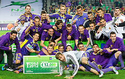 Players of Maribor celebrate after the football match between NK Celje and NK Maribor in final of Hervis Cup 2011/12, on May 23, 2012 in SRC Stozice, Ljubljana, Slovenia. Maribor defeated Celje after penalty shots and became Slovenian Cup Champion. (Photo by Vid Ponikvar / Sportida.com)