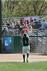 09 May 2014:  Amanda Fazzari gets under a fly ball and hangs on after stumbling and almost dropping it during an NCAA Division III women's softball championship series game between the Lake Forest Foresters and the Illinois Wesleyan Titans in Bloomington IL