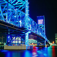The Main Street Bridge in downtown Jacksonville Florida. It crosses over the St. John's river connecting the north and south banks of the heart of downtown.