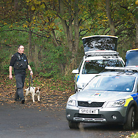 Perth Manhunt.....24.10.12<br /> A police dog handler pictured near Kinnoull Hill in Perth today joining a manhunt for prisoner Lee Cyrus who has absconded from North Sea Camp, Boston, Lincs..Police decended on the area around Kinnoull Hill sealing it off after a possible sighting of Lee Cyrus was reported using a helicopter and dogs to search the wooded Perthshire beauty spot.<br /> Picture by Graeme Hart.<br /> Copyright Perthshire Picture Agency<br /> Tel: 01738 623350  Mobile: 07990 594431