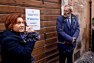 Rome, Italy. 8th January 2016<br /> The Jewish Community of Rome has commemorated the victims of the massacre at the supermarket kosher Hypercacher in Paris a year ago, with the closure of shops in the Jewish ghetto. During the attack on the supermarket Hypercacher killed four people. The president of the Jewish Community of Rome Ruth Dureghello and the chief rabbi of Rome, Riccardo di Segni