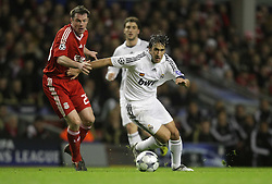 Raul goes past Jamie Carragher..Uefa Champions League, First knock-out round, second leg.Liverpool v Real Madrid,Anfield.10.03.09.