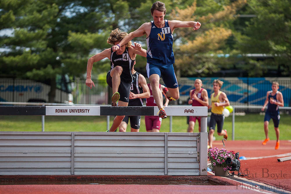 3000 meter men's steeplechase at the NJAC Track and Field Championships at Richard Wacker Stadium on the campus of  Rowan University  in Glassboro, NJ on Sunday May 5, 2013. (photo / Mat Boyle)