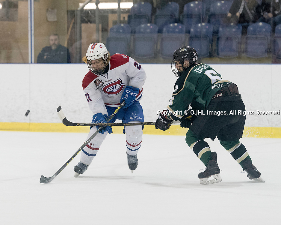 KINGSTON, ON - MAR 9,  2017: Ontario Junior Hockey League, playoff game between the Cobourg Cougars and Kingston Voyageurs, Andrew Suriyuth #27 of the Kingston Voyageurs battles for the puck with Jordan DiCicco #6 of the Cobourg Cougars during the 1st period.<br /> (Photo by Ian Dixon/ OJHL Images)