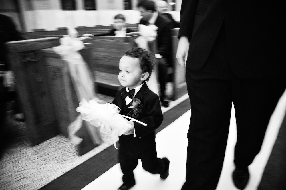 Mariana & Mark's ring bearer successfully delivers the rings, St. Andrew's Greek Orthodox Church, Chicago