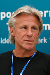 Liverpool, England - Wednesday, June 13, 2007: Bjorn Borg at a press conference on day two of the Liverpool International Tennis Tournament at Calderstones Park. Bjorn was scheduled to play his first match on grass since 1981 but was forced to withdraw after a dog bit his leg. For more information visit www.liverpooltennis.co.uk. (Pic by David Rawcliffe/Propaganda)