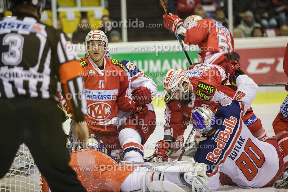 28.02.2016, Stadthalle, Klagenfurt, AUT, EBEL, EC KAC vs EC Red Bull Salzburg, Viertelfinale, 2. Spiel, im Bild Manuel Ganahl (EC KAC, #17), Luka Gracnar EC (Red Bull Salzburg #33), Zdenek Kutlak (Red Bull Salzburg #80) Martin Schumnig (EC KAC, #28)// during the Erste Bank Icehockey League 2nd quarterfinal match between EC KAC and EC Red Bull Salzburg at the City Hall in Klagenfurt, Austria on 2016/02/28. EXPA Pictures © 2016, PhotoCredit: EXPA/ Gert Steinthaler