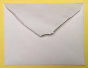 back of an opened white envelope