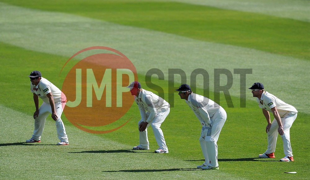 The Durham slips look on- Photo mandatory by-line: Harry Trump/JMP - Mobile: 07966 386802 - 14/04/15 - SPORT - CRICKET - LVCC County Championship - Day 3 - Somerset v Durham - The County Ground, Taunton, England.