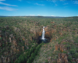 Aerial view of Cathedral Falls in the Prince Regent River in the Kimberley wet season.