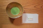 Matcha tea with candies by Kyoto Kagizen-Yoshifura at Kajitsu, 125 E. 39th St., New York.