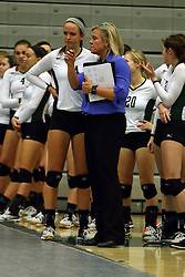 28 October 2016:  Kim Nelson-Brown speaks with Rachel Rosch during an NCAA womens division 3 Volleyball match between the DePauw Tigers and the Illinois Wesleyan Titans in Shirk Center, Bloomington IL