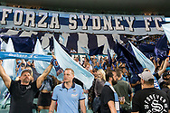 SYDNEY, AUSTRALIA - APRIL 06: Sydney FC supporters prior to kick off at round 24 of the Hyundai A-League Soccer between Sydney FC and Melbourne Victory on April 06, 2019, at The Sydney Cricket Ground in Sydney, Australia. (Photo by Speed Media/Icon Sportswire)