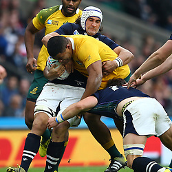 LONDON, ENGLAND - OCTOBER 18: Blair Cowan of Scotland holds up Scott Sio of Australia during the Rugby World Cup Quarter Final match between Australia v Scotland at Twickenham Stadium on October 18, 2015 in London, England. (Photo by Steve Haag)