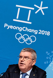 08-02-2018 KOR: Olympic Games day -1, Pyeongchang<br /> President of the IOC Thomas Bach during a pressconference ahead of the opening of the Pyeongchang 2018 Winter Olympic Games at the Main Press Centre in Pyeongchang, South Korea on 2018/02/04<br /> <br /> *** USE NETHERLANDS ONLY ***