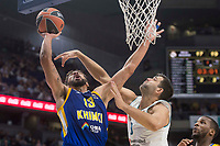 Real Madrid Felipe Reyes and Khimki Moscow Anthony Gill during Turkish Airlines Euroleague match between Real Madrid and Khimki Moscow at Wizink Center in Madrid, Spain. November 02, 2017. (ALTERPHOTOS/Borja B.Hojas)
