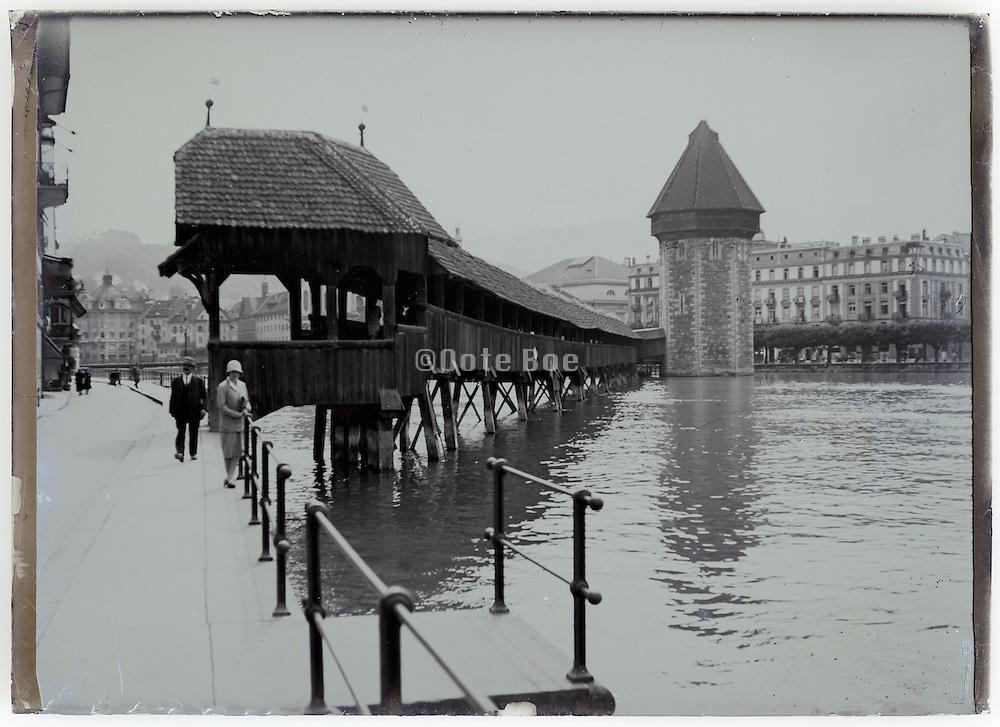 the Chapel bridge in Lucerne Switzerland 1900s