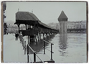 the Chapel bridge in Lucerne Switzerland 1900s