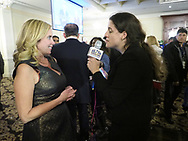 New Hyde Park, New York, USA. November 7, 2017. LAURA GILLEN, Town of Hempstead Supervisor-Elect is interviewed by reporter for WRHU Radio Hofstra University, at Nassau County Democrats Election Night Party for Viewing Election Results, held at Inn at New Hyde Park.