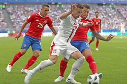 SAMARA, June 17, 2018  Dusan Tadic (C) of Serbia vies with Fancisco Calvo (R) of Costa Rica during a group E match between Costa Rica and Serbia at the 2018 FIFA World Cup in Samara, Russia, June 17, 2018. (Credit Image: © Fei Maohua/Xinhua via ZUMA Wire)