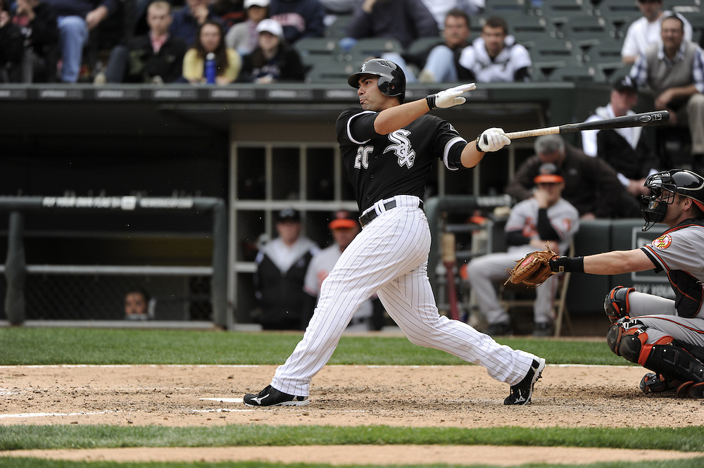 CHICAGO - MAY 01:  Carlos Quentin #20 of the Chicago White Sox bats against the Baltimore Orioles on May 01, 2011 at U.S. Cellular Field in Chicago, Illinois.  The Orioles defeated the White Sox 6-4.  (Photo by Ron Vesely)  Subject:   Carlos Quentin