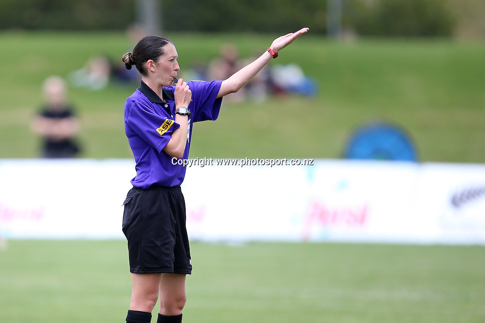 Referee Anna-Marie Keighley inaction in the ASB Womens League Football Final - Northern v Mainland Pride at North Harbour Stadium on Sunday 8 December 2013. Photo: Jason Oxenham / Photosport