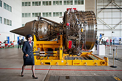 04/07/2013 . London, UK.  The engines of a Boeing A380 superjumbo in a hanger at Heathrow Airport on July 4, 2013. It was the first time British Airlines have taken delivery of the new plane, making British Airways the first European airline to operate both the 787 and A380. Photo credit : Ben Cawthra/