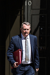 London, UK. 16 July, 2019. Liam Fox MP, Secretary of State for International Trade and President of the Board of Trade, leaves 10 Downing Street following a Cabinet meeting.
